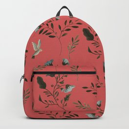 Coral Rose and Bluebells and Bluebirds Floral Pattern Flowers in Blue and Bark Brown Backpack