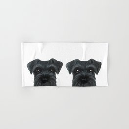 New Black Schnauzer, Dog illustration original painting print Hand & Bath Towel