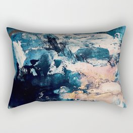 Sweetly: a bohemian, abstract work on paper in blue, pink, white, and gold Rectangular Pillow