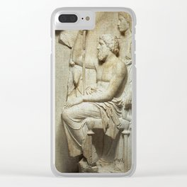 Marble grave stele with a family group Clear iPhone Case