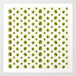 """Green Lemon Pattern Succulents Polka Dots"" Art Print"