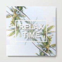 Relax time. Palm tree design #society6 #decor #buyart #artprint Metal Print
