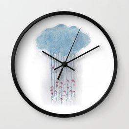 Rain in the woods Wall Clock