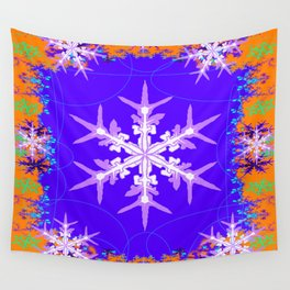 Purple Snowflake Modern Art Abstract Wall Tapestry