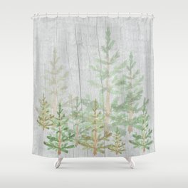 Pine forest on weathered wood Shower Curtain