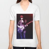 u2 V-neck T-shirts featuring U2 / The Edge by JR van Kampen