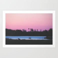 Pink skies over the lake Art Print