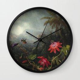 Martin Johnson Heade - Passion Flowers with Hummingbirds Wall Clock