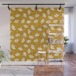 Ginkgo Biloba | Yellow Background Wall Mural