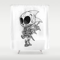 sonic Shower Curtains featuring Sonic Bones by Will Blood