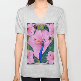 TROPICAL PINK HIBISCUS FLOWERS & BLUE-GREEN PEACOCK Unisex V-Neck