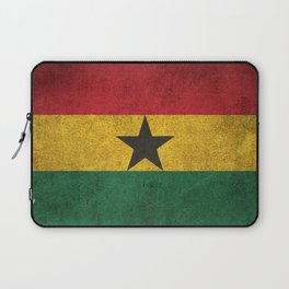 Old and Worn Distressed Vintage Flag of Ghana Laptop Sleeve