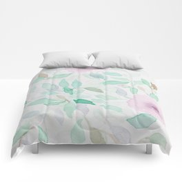 Pink and Mint Flowery Watercolor design Comforters