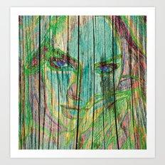 Woman on wood Art Print