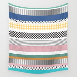 Mixed Pattern Stripe Print Color Blocking Wall Tapestry