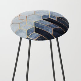 Soft Blue Hexagons Counter Stool