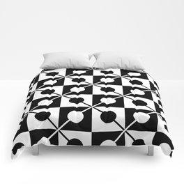 Black White Squares, Circles & Lines Comforters
