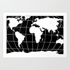 Map of the World in Black Art Print