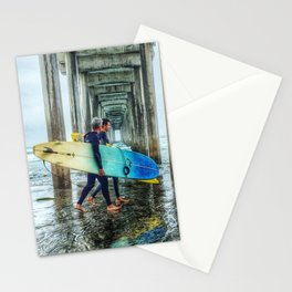 Surfers, La Jolla Shores Pier, San Diego, California. Stationery Cards