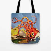 milwaukee Tote Bags featuring MILWAUKEE: What's Kraken, Milwaukee? by Amanda Iglinski