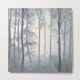 Frozen Fog in the Forest Metal Print