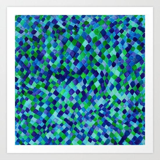 Watercolour Diamonds Blue Art Print