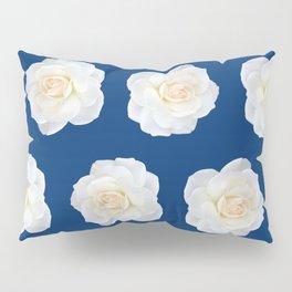 Cream Rose Polka Dot on Blue Pillow Sham