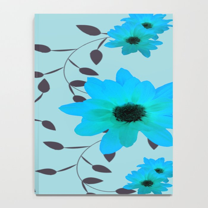 Pale Blue Flowers and Vines Notebook