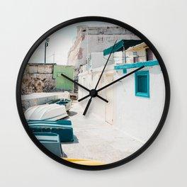 Coastal Fishing Village Wall Clock