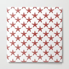 Starfishes (Maroon & White Pattern) Metal Print
