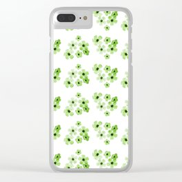 Green Flowers Pattern Clear iPhone Case
