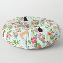 Chihuahua floral tropical hawaii floral hibiscus dog breed dogs pets Floor Pillow