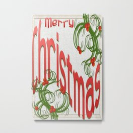 Merry Christmas With Stylized Holly Greeting Card  Metal Print
