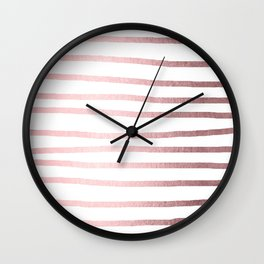 Simply Drawn Stripes Rose Quartz Elegance Wall Clock