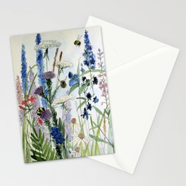 Wildflower in Garden Watercolor Flower Illustration Painting Stationery Cards