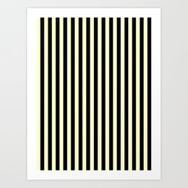Cream Yellow and Black Vertical Stripes Art Print
