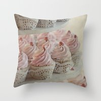 cupcakes Throw Pillows featuring Cupcakes by Mary Kilbreath