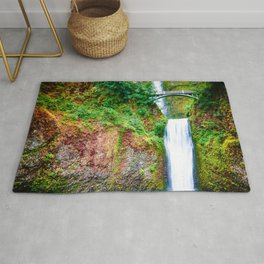Bridge over waterfall full with green leaves and water pool Rug