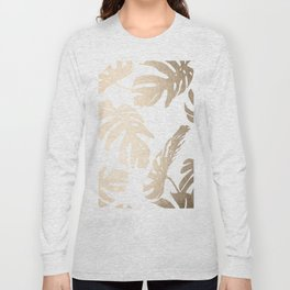 Simply Tropical Palm Leaves in White Gold Sands Long Sleeve T-shirt
