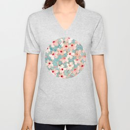 Shabby Chic Hibiscus Patchwork Pattern in Peach & Mint Unisex V-Neck