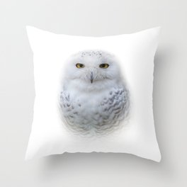 Dreamy Encounter with a Serene Snowy Owl Throw Pillow