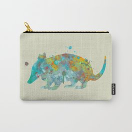Armadillo Watercolor Painting Turquoise Aqua Mint Yellow Orange Carry-All Pouch