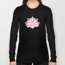 Lotus pattern on dark blue Long Sleeve T-shirt
