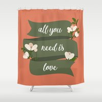 all you need is love Shower Curtains featuring All you need is love by Juliana RW