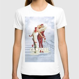 Vintage Campari Italian Bitters Angel and Devil - Stairway to Heaven Advertisement Poster T-shirt