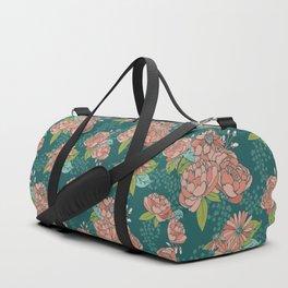 Moody Florals in Teal Duffle Bag