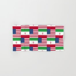 Mix of flag : Usa and Iran. Hand & Bath Towel
