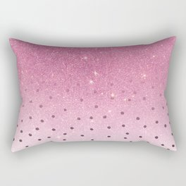 Black white polka dots pink glitter ombre Rectangular Pillow