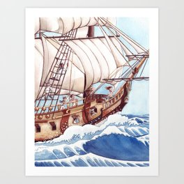 She Sails the High Seas Art Print