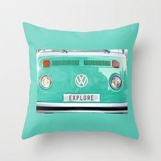 Explore wolkswagen. Summer dreams. Green Throw Pillow